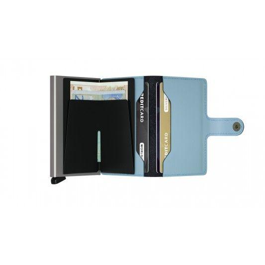 Secrid Secrid Mini Wallet Matte Blue leren uitschuifbare pasjeshouder lichtblauw