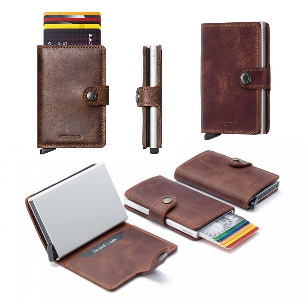 Secrid Secrid Mini Wallet Card Protector Vintage bruin leren uitschuifbare pasjeshouder
