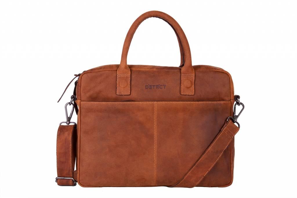 DSTRCT DSTRCT 076020 leren businesstas laptop 15.4 inch cognac