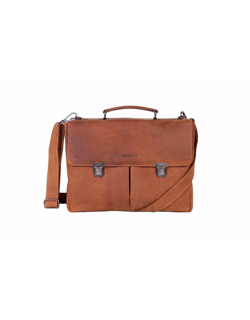 DSTRCT DSTRCT 076220 leren businesstas aktetas laptop 15 inch cognac