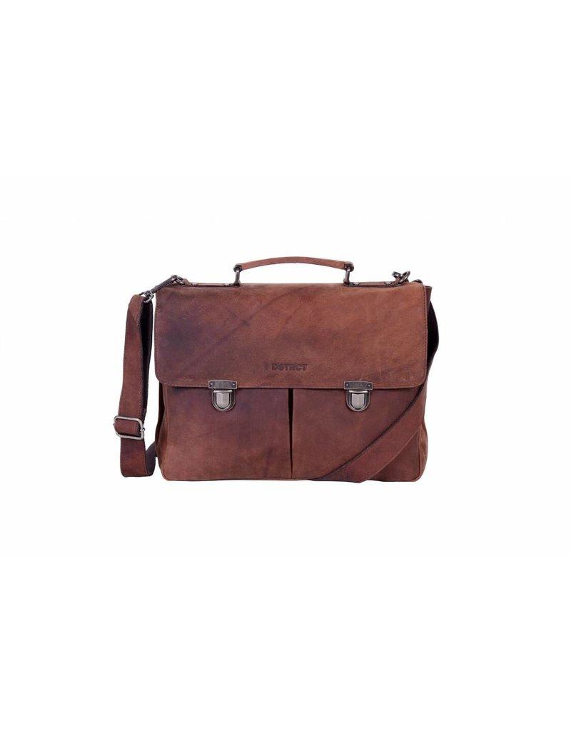 DSTRCT DSTRCT 076220 leren businesstas aktetas laptop 15 inch brown