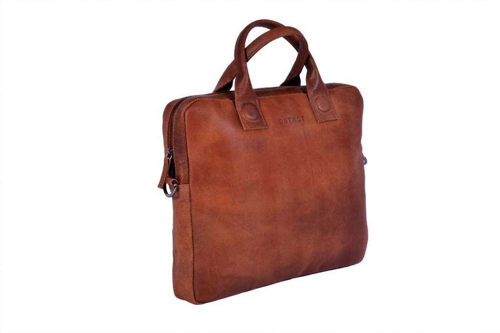 DSTRCT DSTRCT 016120 leren platte businesstas laptop 13.3 inch cognac