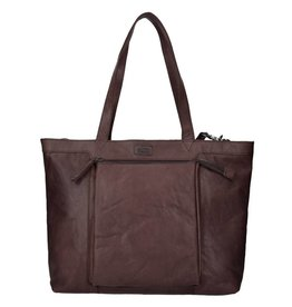 Spikes and Sparrow Spikes and Sparrow Bronco leren shopper laptoptas donkerbruin