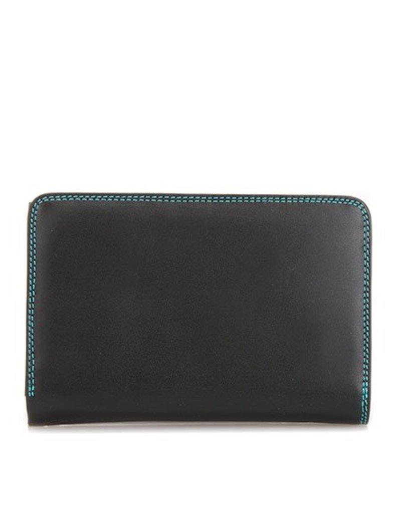 Mywalit Mywalit Medium Tri-Fold met Outer Zip Purse - Black Pace - portemonnee