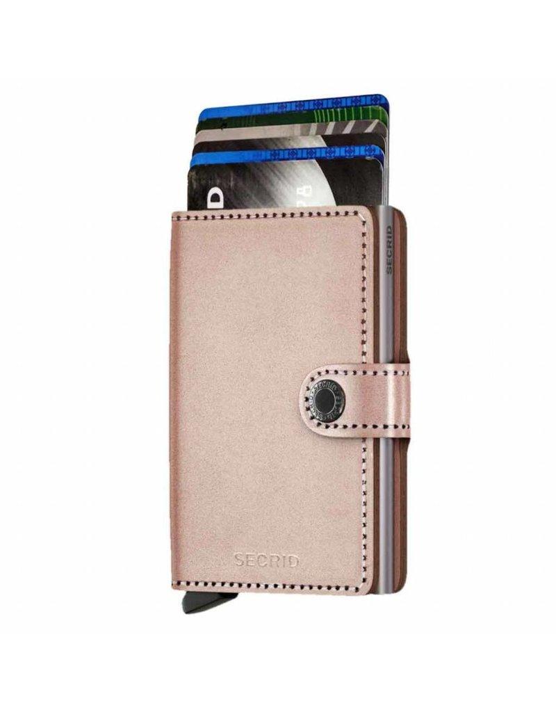 Secrid Secrid Mini Wallet Card Protector Metallic Rose leren uitschuifbare pasjeshouder