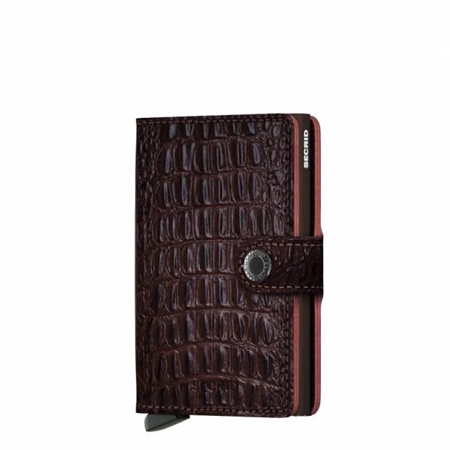 Secrid Secrid Mini Wallet Nile Brown leren uitschuifbare pasjeshouder