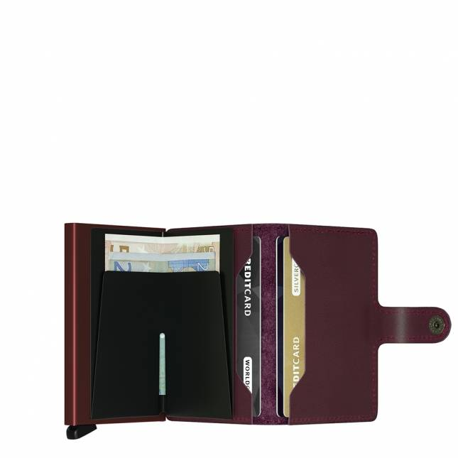 Secrid Secrid Mini Wallet Card Protector Bordeaux leren uitschuifbare pasjes bescherming portemonnee