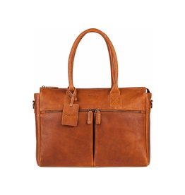 "Burkely Burkely Antique Avery leren dames laptoptas 15.6"" cognac"