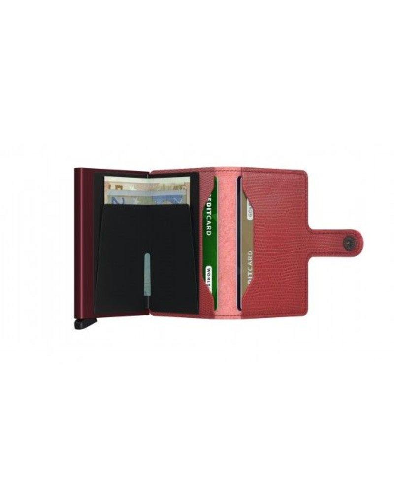 Secrid Secrid Mini Wallet Card Protector Red Bordeaux leren uitschuifbare pasjeshouder