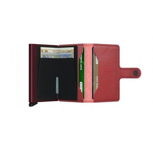 Secrid Secrid Mini Wallet Rango Red Bordeaux leren uitschuifbare pasjeshouder