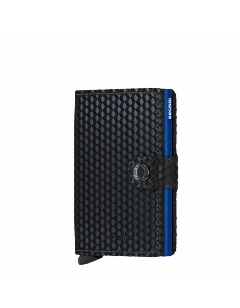 Secrid Secrid Mini Wallet Card Protector Cubic Black Blue leren uitschuifbare pasjeshouder