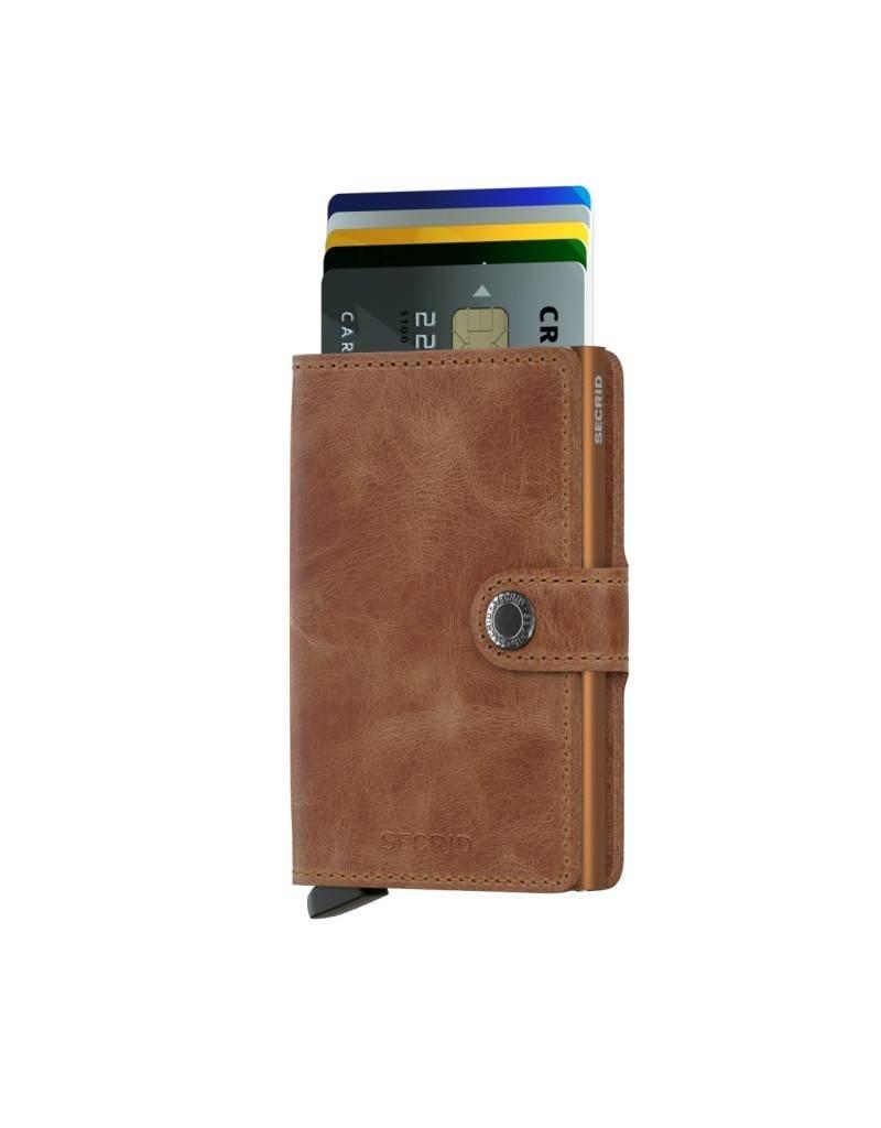 Secrid Secrid Mini Wallet Card Protector Vintage Cognac Rust leren uitschuifbare pasjeshouder