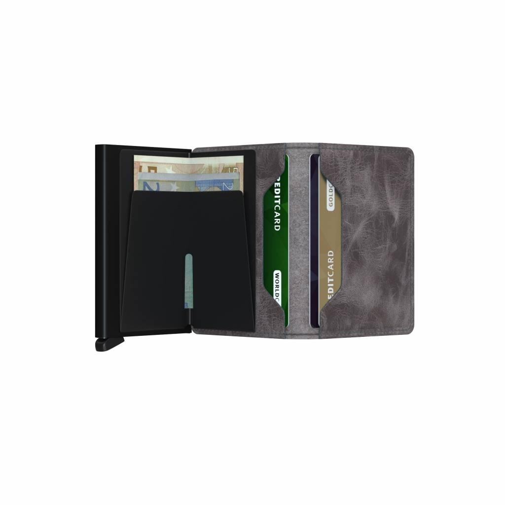 Secrid Secrid Slim Wallet Vintage Grey Black leren uitschuifbare pasjeshouder portemonnee
