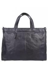 Cowboysbag Cowboysbag - Bag Wick - blauwe leren 15.6 inch laptoptas - Navy Blauw