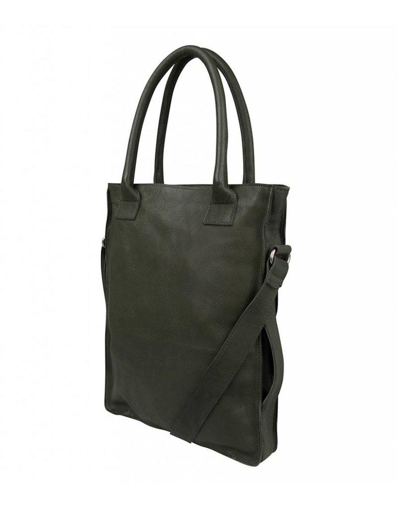 Cowboysbag Cowboysbag - Bag Dover - Army Groen - zacht leren groene shopper tas