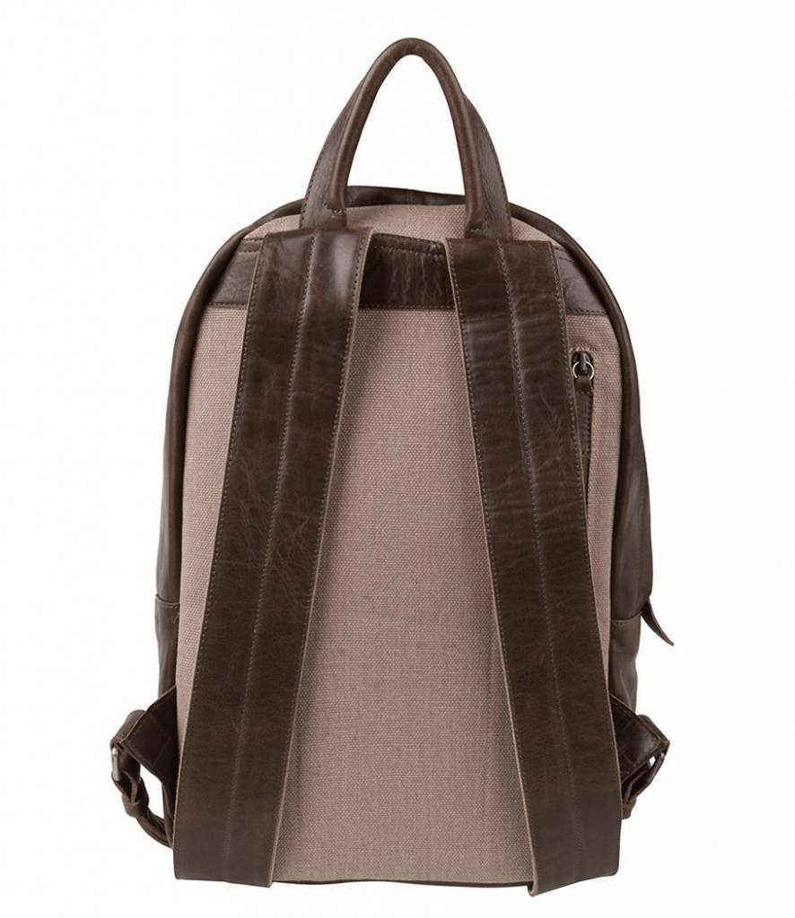 Cowboysbag Cowboysbag - Bag Healy - Smoke - bruine leren laptop rugzak