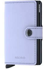 Secrid Secrid Mini Wallet Matte Lila Black leren uitschuifbare pasjeshouder