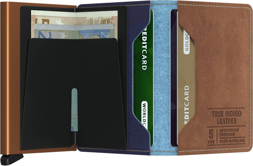 Secrid Secrid Slim Wallet Indigo 5 leren uitschuifbare pasjeshouder portemonnee