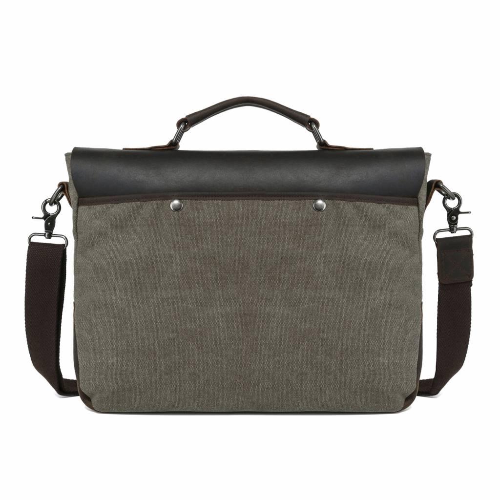 "Line Line Awesome Aktetas Briefcase Canvas & Leer 13"" laptoptas Olive"