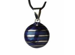 Babylonia Zwangerschapsketting blauw zilveren lijnen