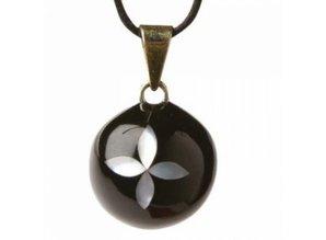 Babylonia Zwangerschapsketting zwart parelmoer bloem