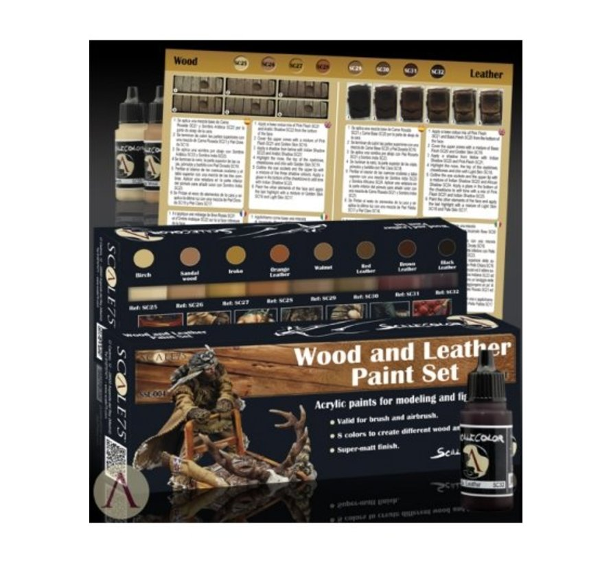 Wood and Leather Paint set - 8 kleuren - 17ml - SSE-004
