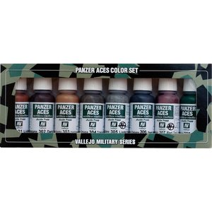 Vallejo Model Color Panzer Aces No1 - Rust, tracks, rubber - 8 kleuren - 17ml - 70122