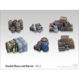 Tabletop-Art Stacked boxes and barrels set 2 - TTA600017