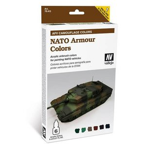 Vallejo Model Air AFV Camouflage Colors - NATO Armour Colors - 6 kleuren - 8ml - 78413