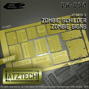 Ätztech Ätztech Zombies Waarschuwingsborden - Photo-Etch - AT-BA-SI-3