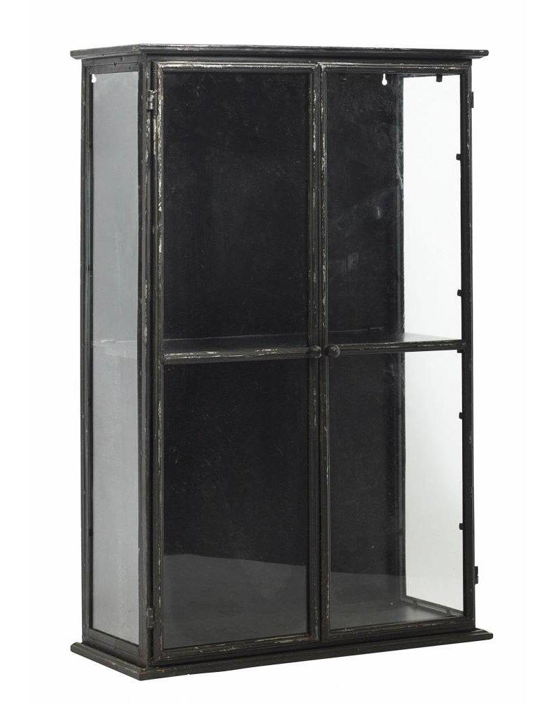 Nordal vitrinekastje, zwart, 80 cm hoog