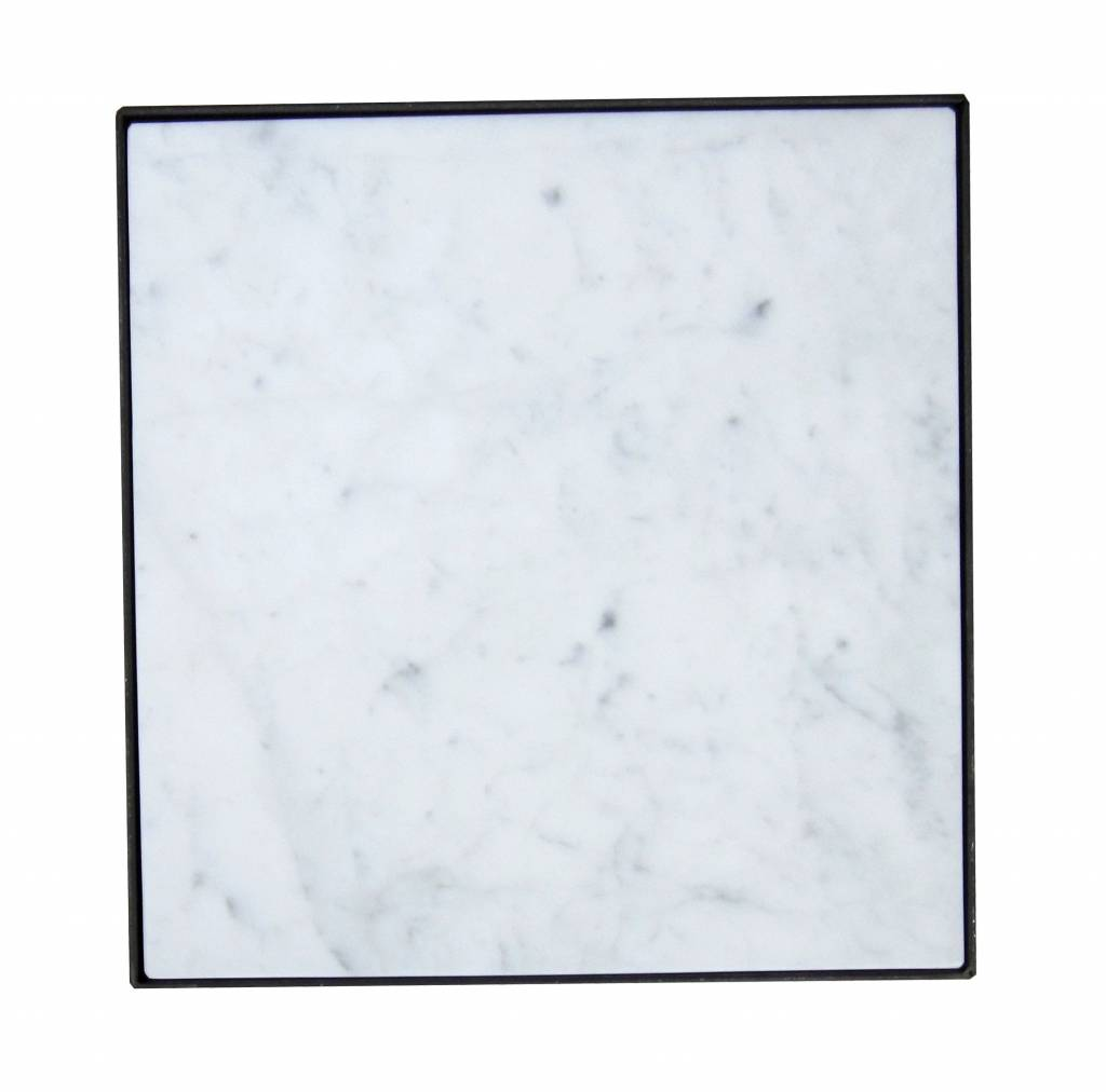 Stoer Metaal side table with marble table top, 40x40