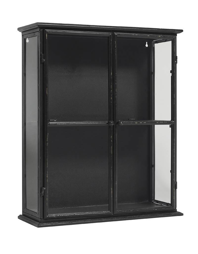 nordal vitrinekastje zwart 60 cm hoog stoer metaal. Black Bedroom Furniture Sets. Home Design Ideas
