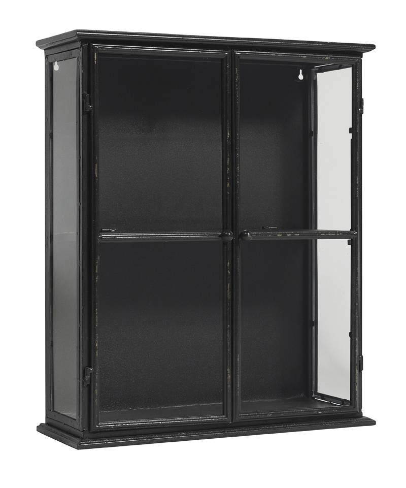 Nordal vitrinekastje, zwart, 60 cm hoog