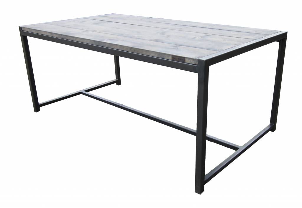 Stoer Metaal dining table with wooden scaffolding table top