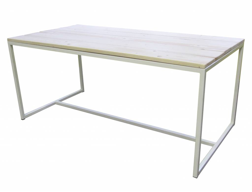 Stoer Metaal dining table with a white iron frame in industrial ...