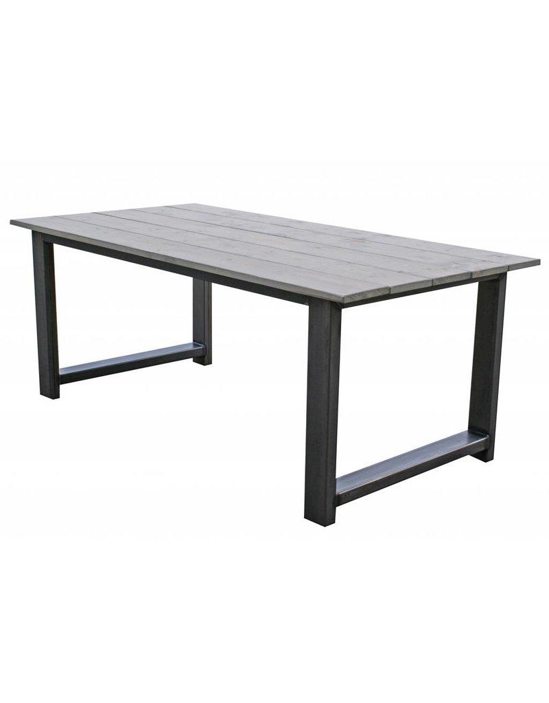 Houten tafel stalen frame slaapkamer juiste kleur van de muur stalen frame - Tafel eetkamer industriele ...