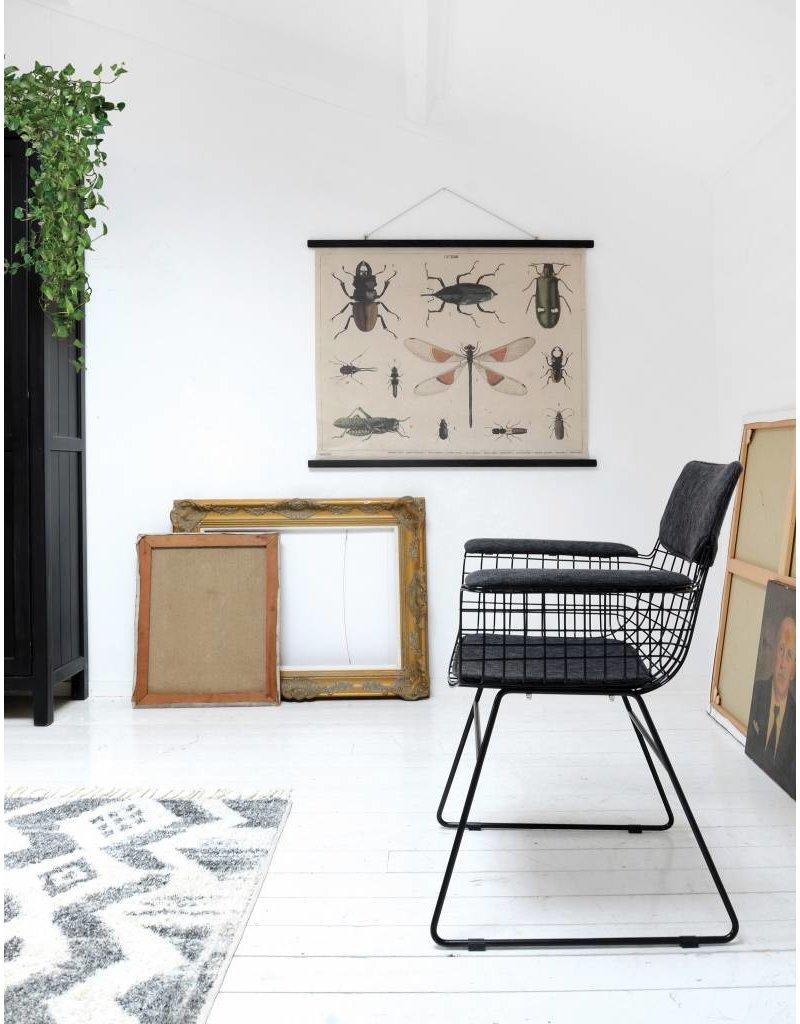 HK Living draadstoel met armleuning, zwart