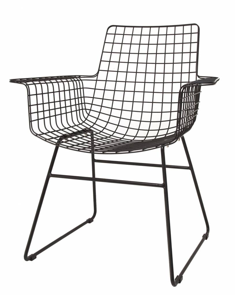 HK Living wire chair with armrests, black