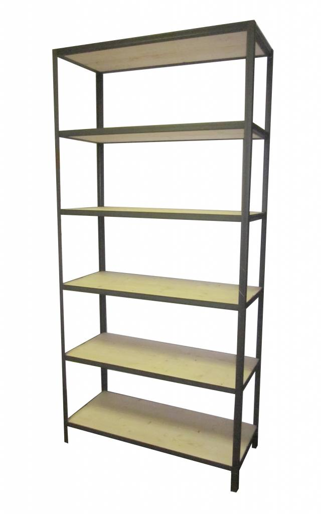 Stoer metaal basic stellingkast met een ijzeren frame en steigerhouten planken stoer metaal - Houten keuken en metaal ...