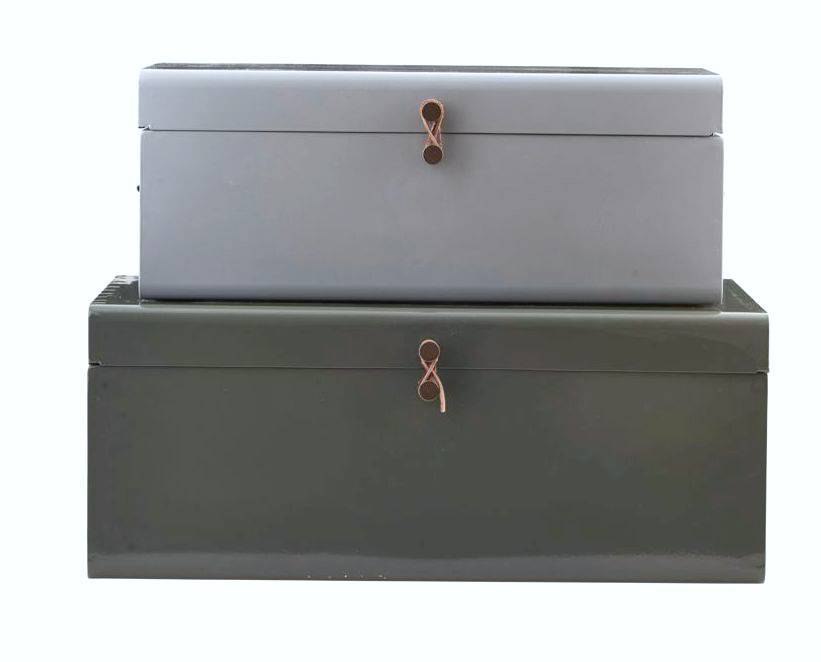House Doctor Set metal storage boxes, light gray and gray-green