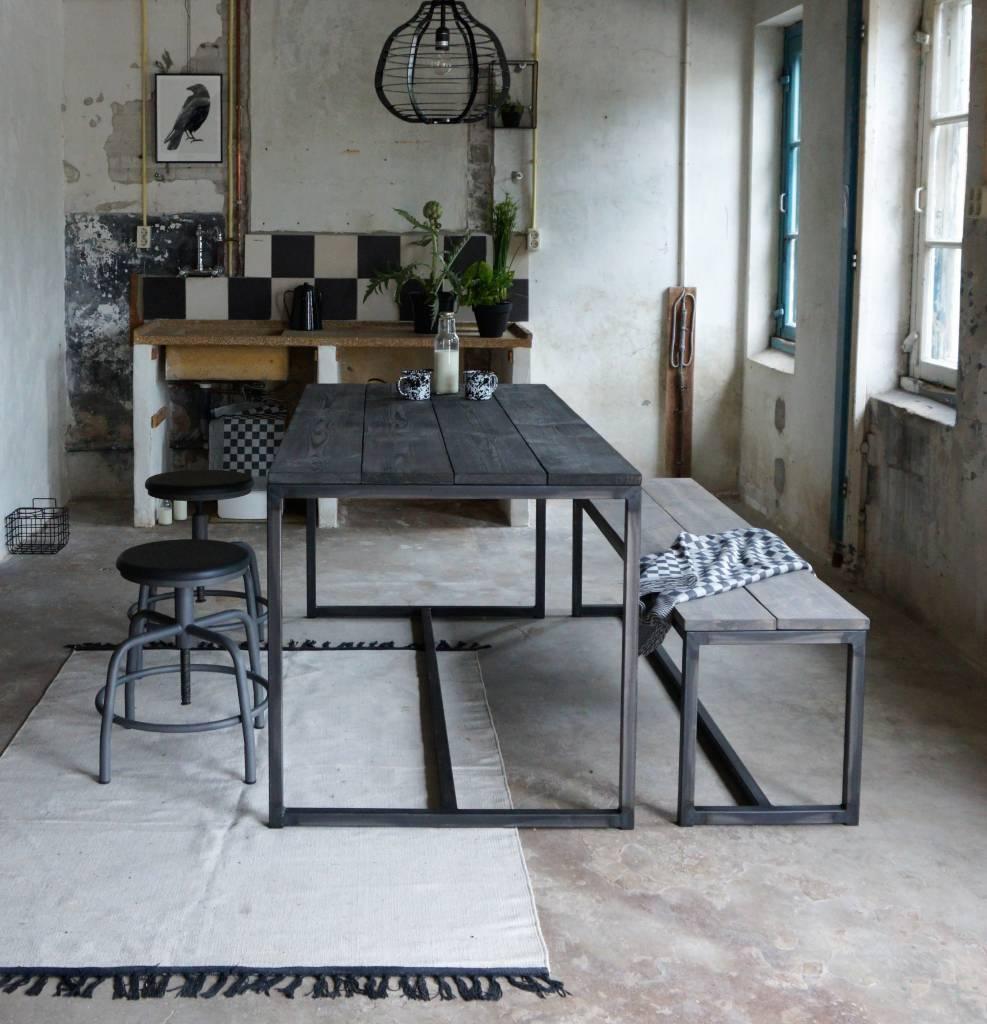 Populair Stoer Metaal tafel met metalen onderstel en houten blad - Stoer Metaal &UB92