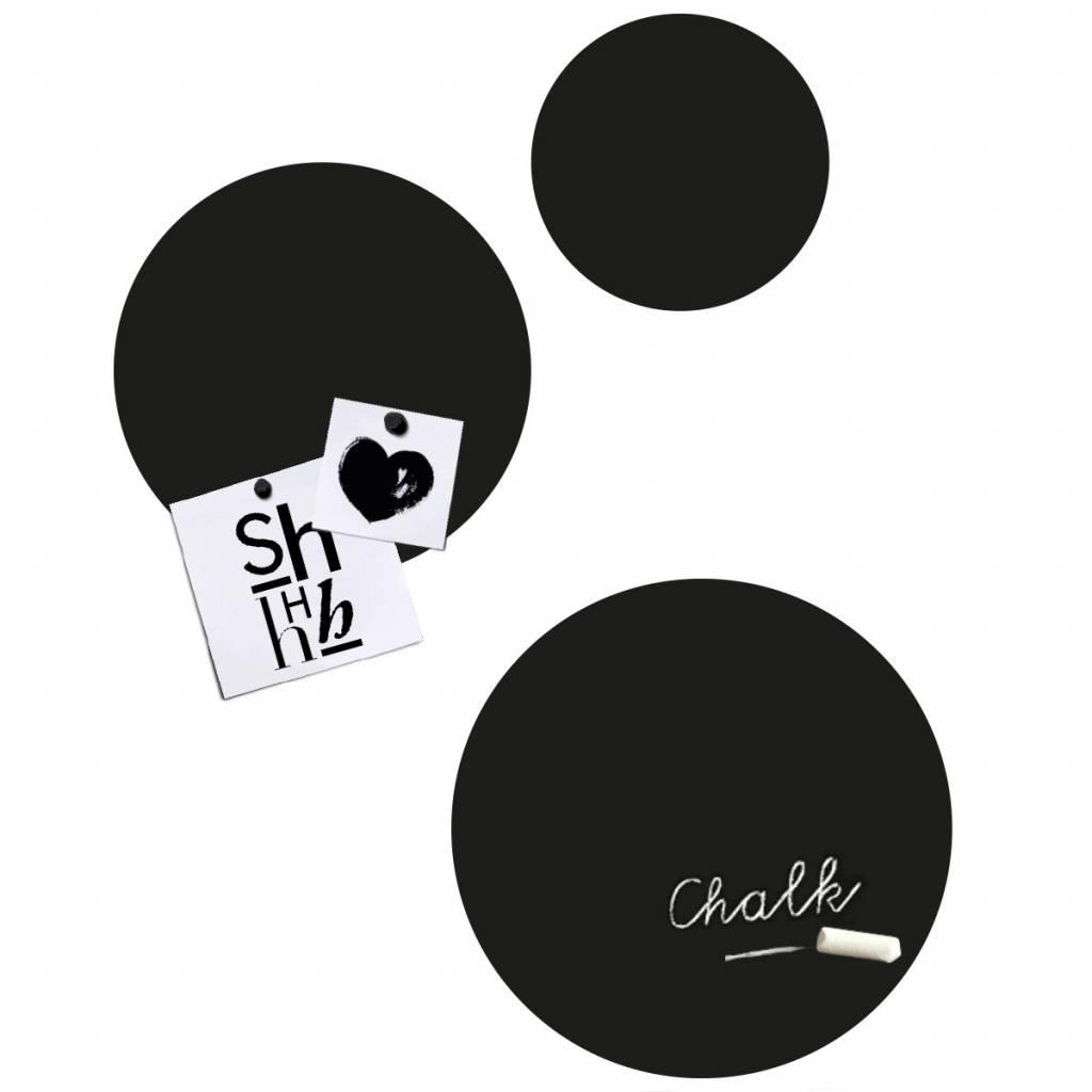 Genoeg Groovy Magnets krijtbord magneetstickers Circles rond, zwart @KC05