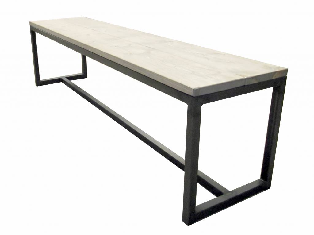 Stoer Metaal bench with iron base and wooden seat Tough23