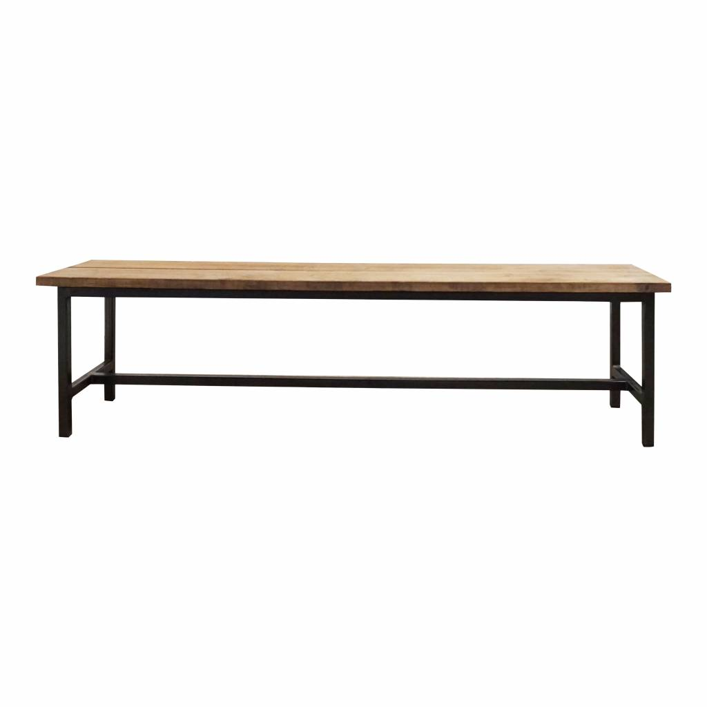 Stoer Metaal bench with iron base and wooden seat Stoer11