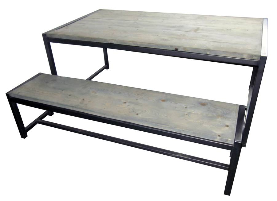 Stoer Metaal bench with iron base and wooden seat Stoer04