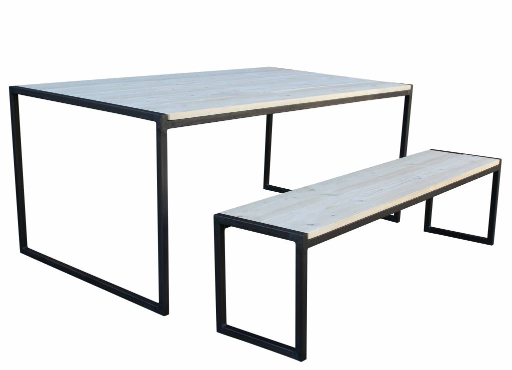 Stoer Metaal bench with iron base and wooden seat sturdy30