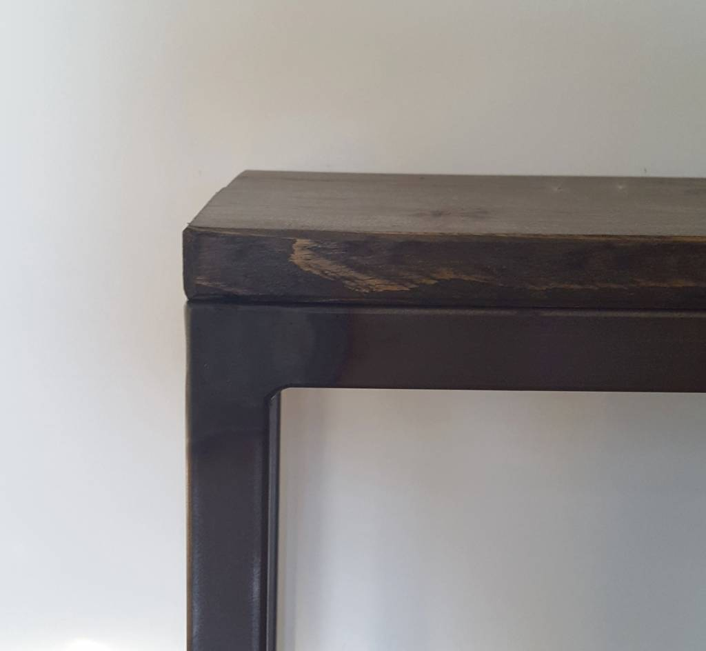 Stoer Metaal bench with iron base and wooden seat Stoer01