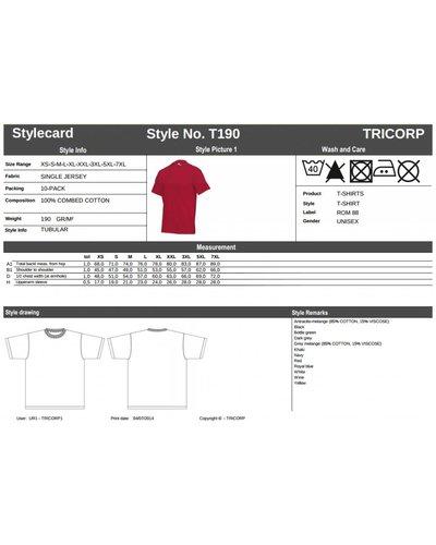Tricorp T190 T-Shirt zware zwaliteit felle kleuren