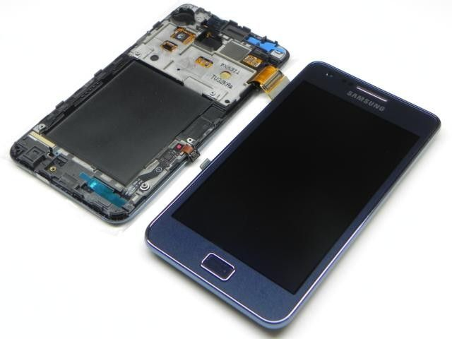 Samsung Galaxy S2 Plus I9105P Internal Screen + Digitizer Touch Panel Outer Glass + Frame Blue GH97-14301A
